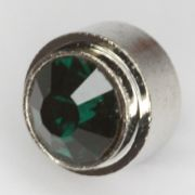0003-404 Ringtop silberfarbig-emerald