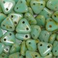 CzechMates Triangle 6mm - Opaque Turquoise Picasso